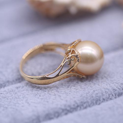 珠還合浦海水珍珠戒指南洋金珠11mm戒指配18K金