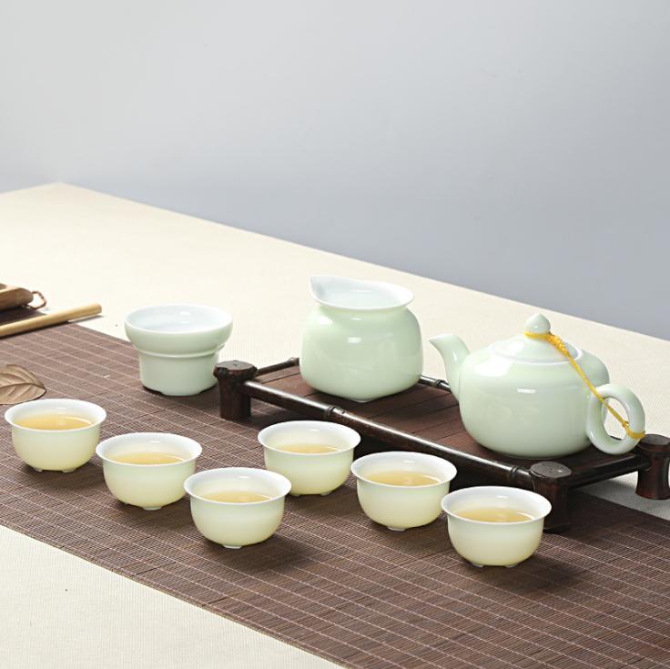供应 青瓷茶具套装陶瓷功夫茶具商务礼品套装厂家直销logo定制