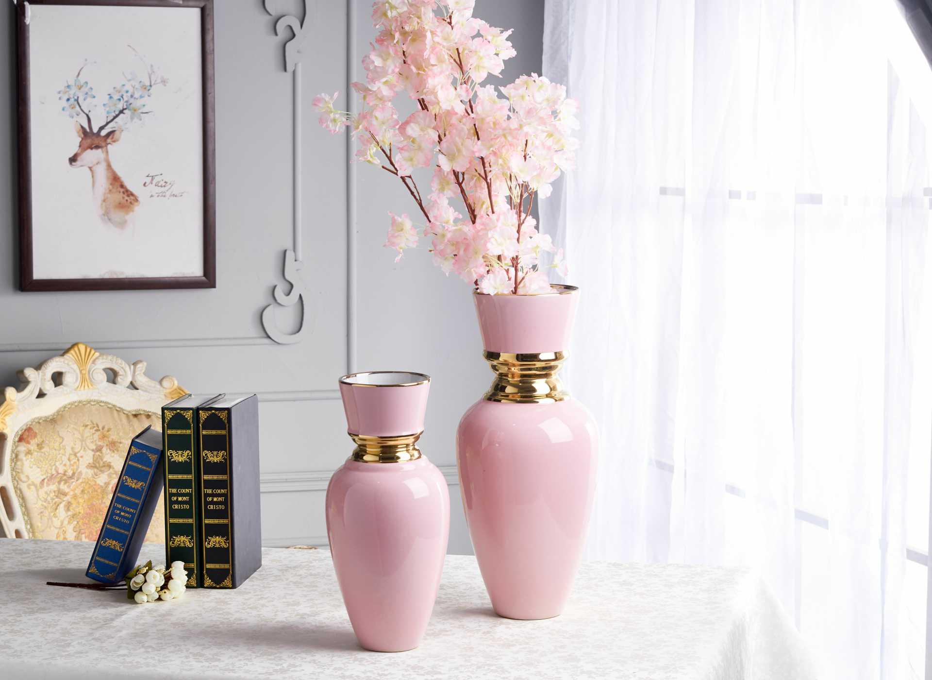 景德鎮新中式鍍金裝飾擺件 粉色