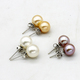 美尚珍珠 5-6mm白色正圆强光淡水珍珠简约款耳钉 百搭款