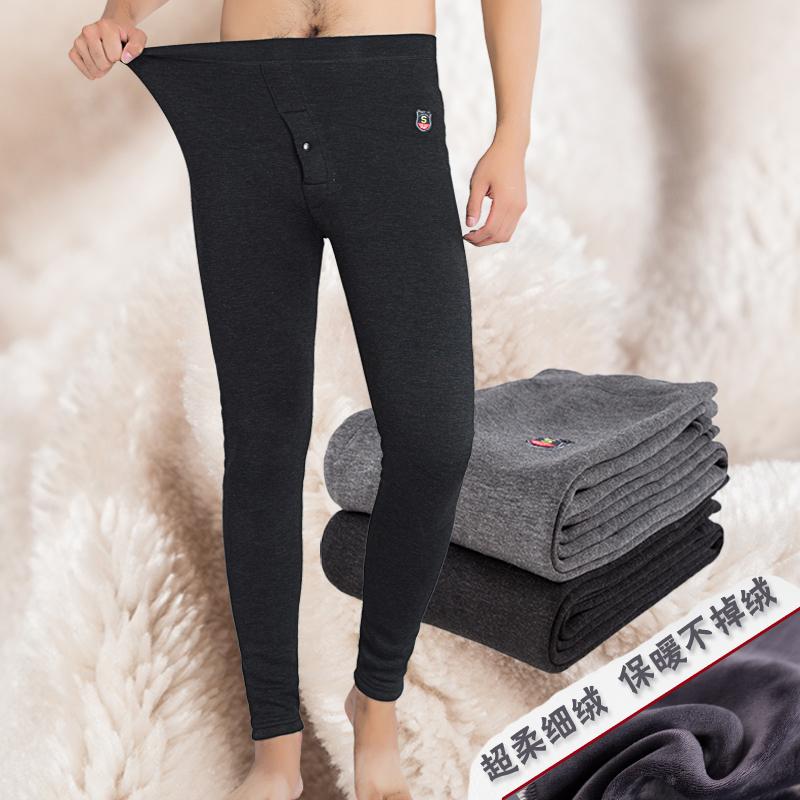 保暖裤男 加绒加厚羊毛裤紧身打底裤男青年冬季双层羊毛裤