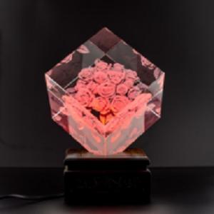 水晶彩色玫瑰 水晶工艺品 馈赠佳品 家居摆件 可定制 创意礼品