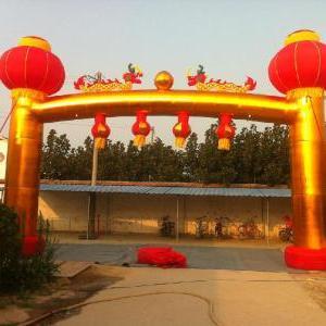 广州气模厂直销 新款彩虹门 红灯笼金色庆典拱门 婚庆拱门 可定做