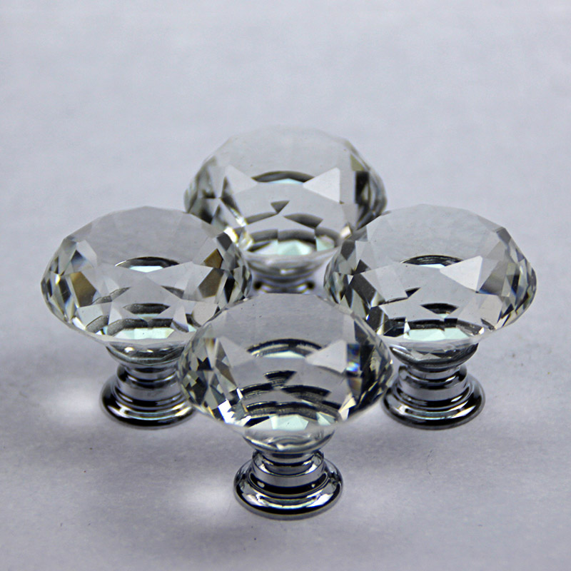 衣柜门拉手 欧式橱柜 鞋柜 酒柜 抽屉把手 现代简约圆单孔 水晶拉手 1004水晶球