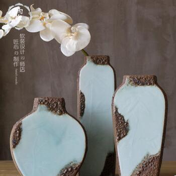 供应 气泡磨砂摆件陶瓷花插花瓶花器