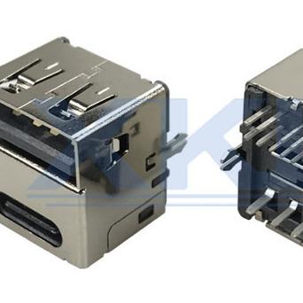 直立式直插 双面插板 车充专用母座 双面插 车充专用连接器 鱼叉