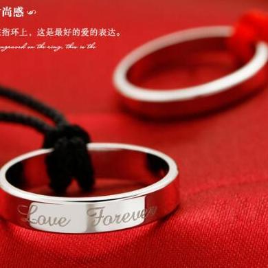 供应 爱你永远戒指 纯银情侣对戒批发  加厚土豪 925纯银戒指