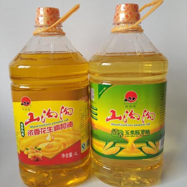 特价商品:山沟沟两桶油 浓香花生调和油4L加清香玉米胚芽油4L