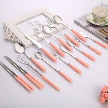 供应 日式礼品卡通勺子陶瓷柄不锈钢汤勺餐具刀叉勺套装