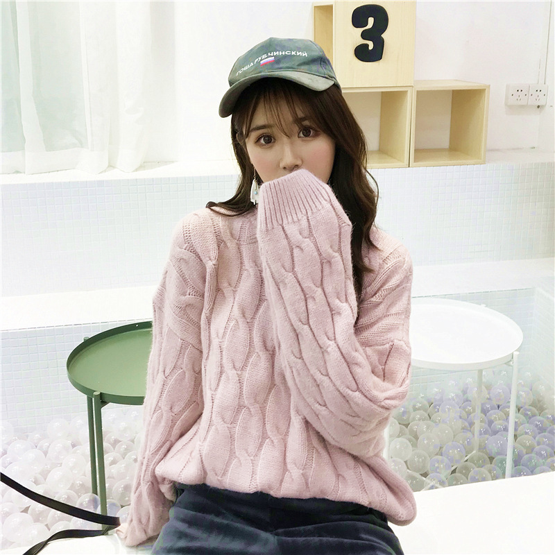 供应 秋冬新款韩版女装宽松毛衣圆领长袖百搭学生冬季针织打底衫