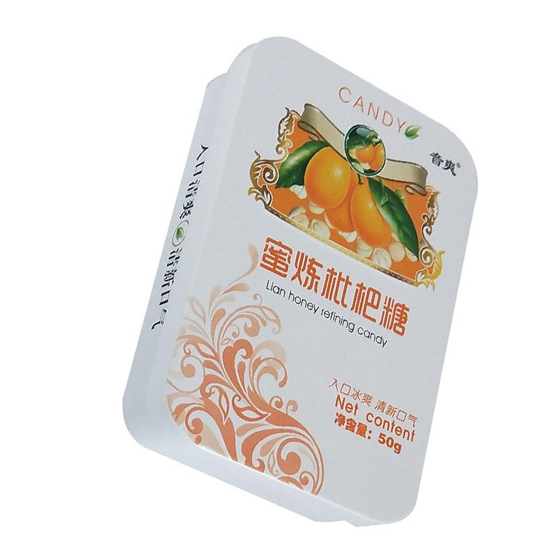 蜜炼枇杷糖铁盒   扁形含片铁盒专业定制