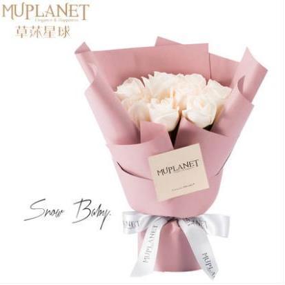 供应 草莯星球白玫瑰花束配送女友生日情人节鲜花