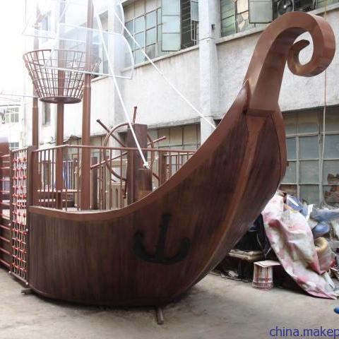 峨眉山实力木船厂家【振新】定制大型户外帆船 海盗木船 景观装饰海盗船