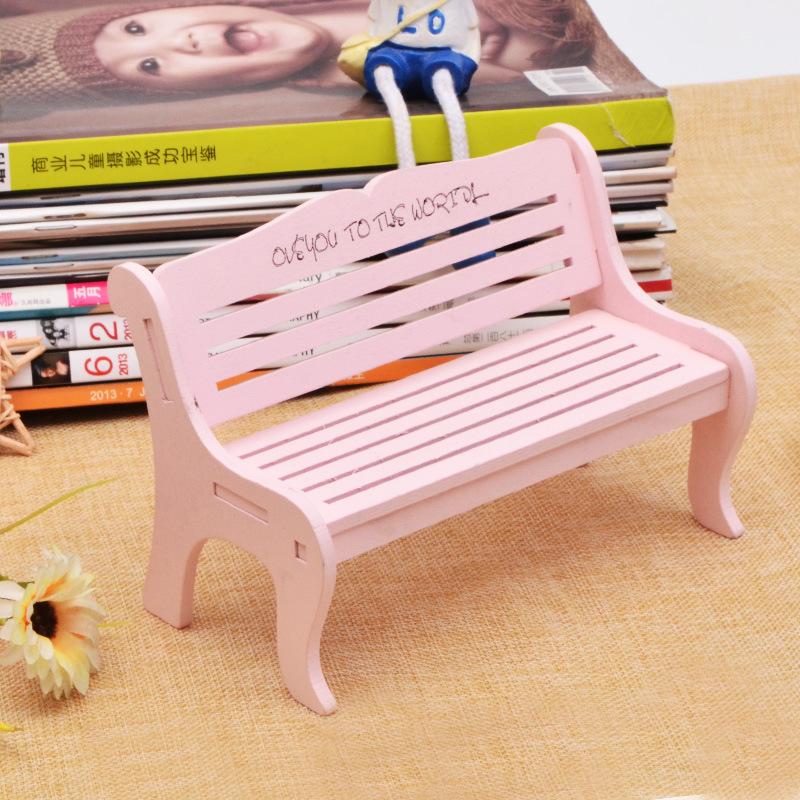 木质工艺品 雕刻少女心粉色椅子拍照摄影道具装饰品创意长椅摆件