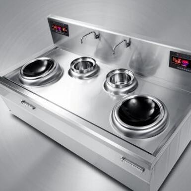 供应五本双头双尾小炒炉商用电磁炉15KW大功率猛火炉灶凹面厨房设备