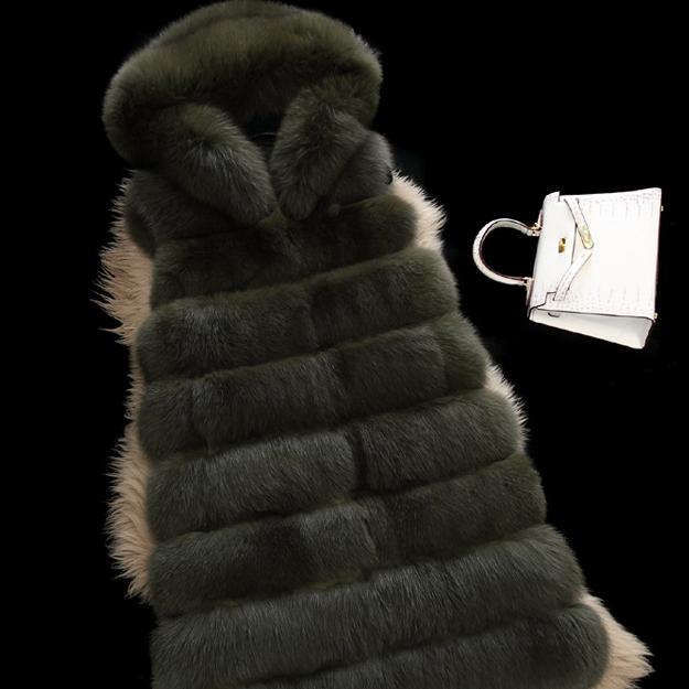 供应 欧美外贸热销款整皮狐狸毛带帽仿皮草外套女装超长款无袖马甲