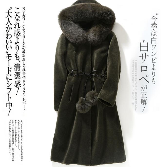 供应 新款海宁羊剪绒皮草外套中长款狐狸毛羊羔毛大衣女装连帽
