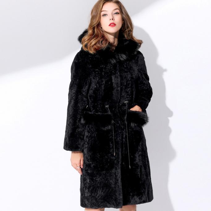 供应 羊剪绒澳洲羊皮真皮真毛狐狸毛领皮草外套大衣