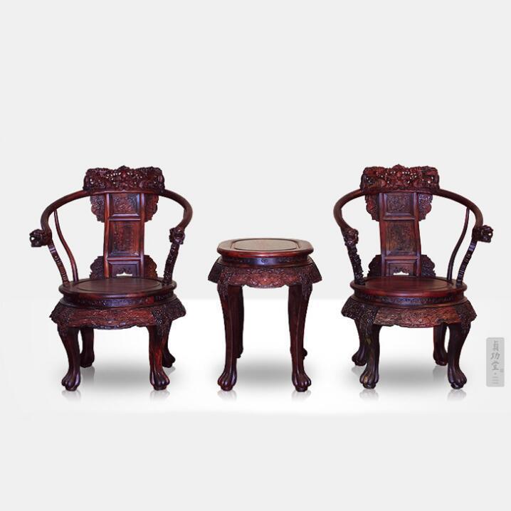 供应 实木椅 实木家具 大红酸枝 老挝酸枝 龙椅三件套