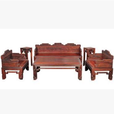 供应 实木沙发 大红酸枝 红木家具 6件套拐子宝座沙发