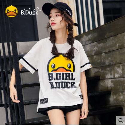 供应 B.Duck小黄鸭2017夏新款时尚印花白色短袖T恤女宽松上衣打底衫潮