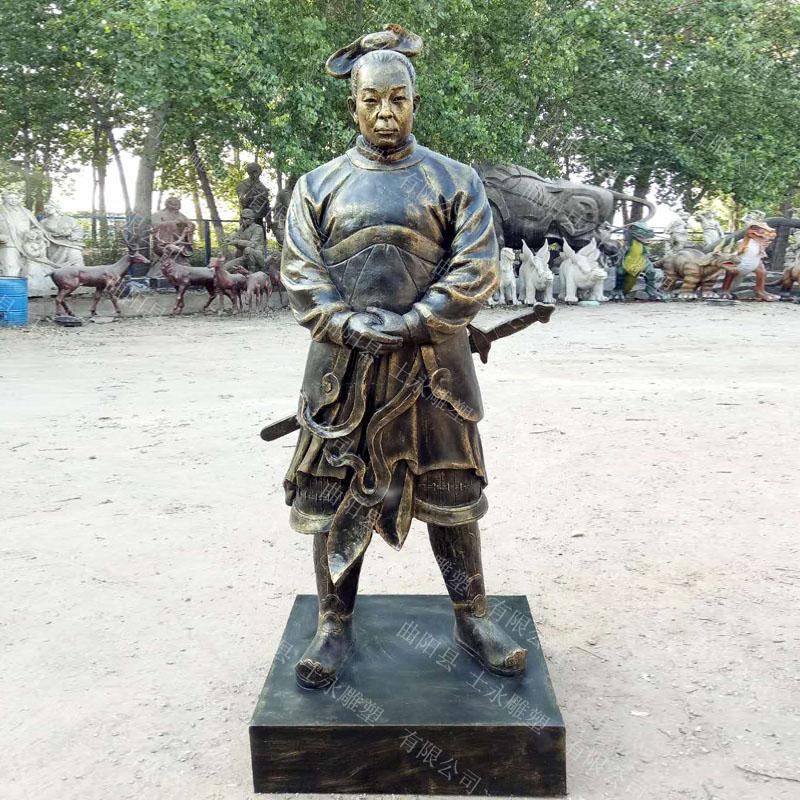 现货供应古代名人玻璃钢雕塑诸葛亮岳飞郭子仪树脂彩绘人物景区摆件