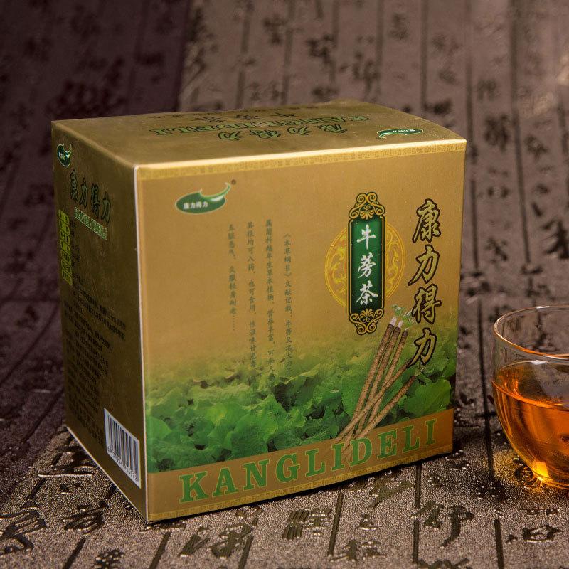 康力得力精美黄色包装 复方颗粒牛蒡茶4g 15包每盒 2盒手提袋装 老年人礼品必备