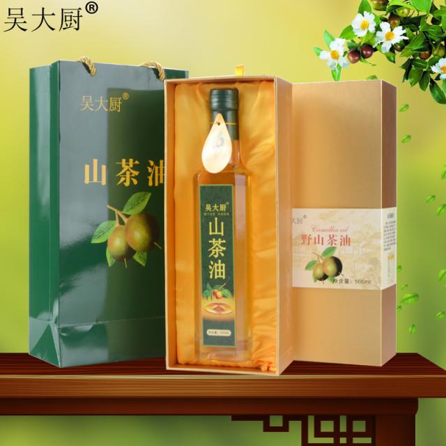 吴大厨 福利礼盒装山茶油 野生茶籽油500ml食用油老年长寿油茶油