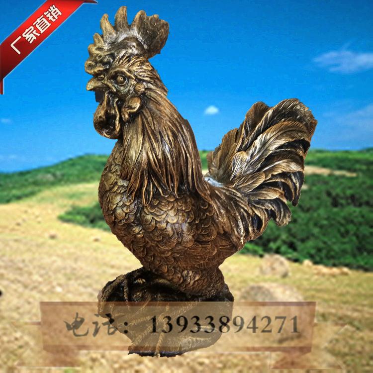玻璃钢仿真动物仿铜动物大公鸡雕塑树脂彩绘景区公园园林商场摆件