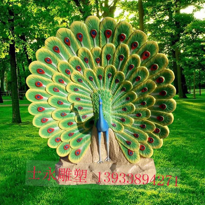 玻璃钢仿真仿铜孔雀开屏雕塑景区园林树脂彩绘摆件
