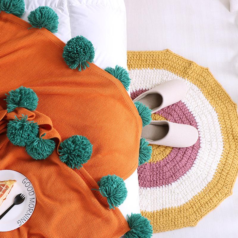 供应 ins北欧大毛球毯全棉针织毯休闲毛毯沙发毯盖毯午睡毯子网红毯棉