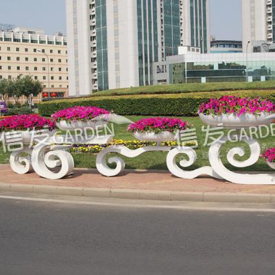 供应大型广场铁艺花架造型 花盆容器 云朵组