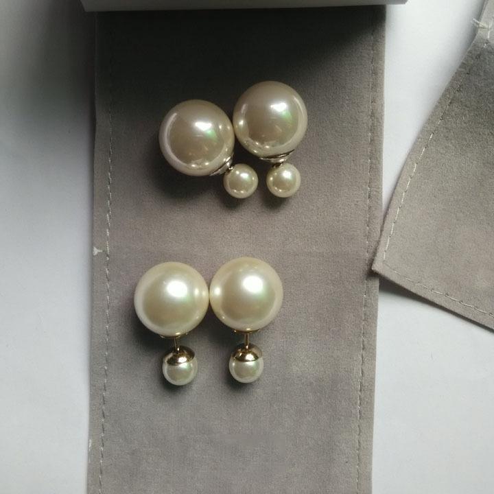 供应 2018明星同款双面大小贝珠珍珠S925纯银针韩国耳钉防过敏时尚耳环