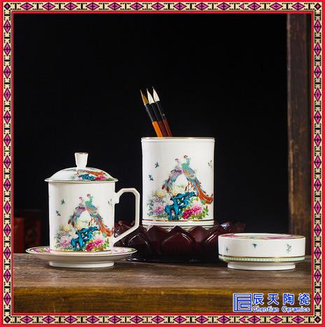 景德镇青花瓷茶杯烟灰缸笔筒组合笔筒烟灰缸文具书房商务礼品