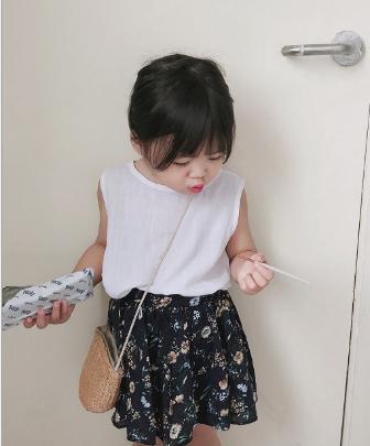 2018夏季新款童装碎花短裙韩版女童公主裙复古半身裙