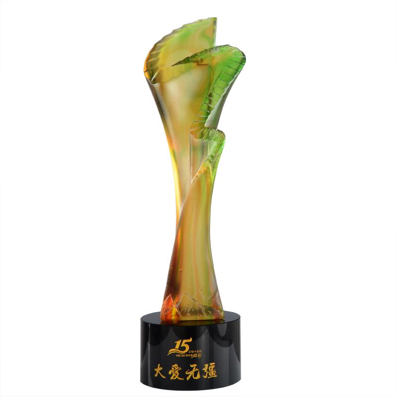 供应 琉璃水晶 奖杯 定制 创意步步高升琉璃奖杯 公司年会颁奖 个性定制奖牌 可刻字