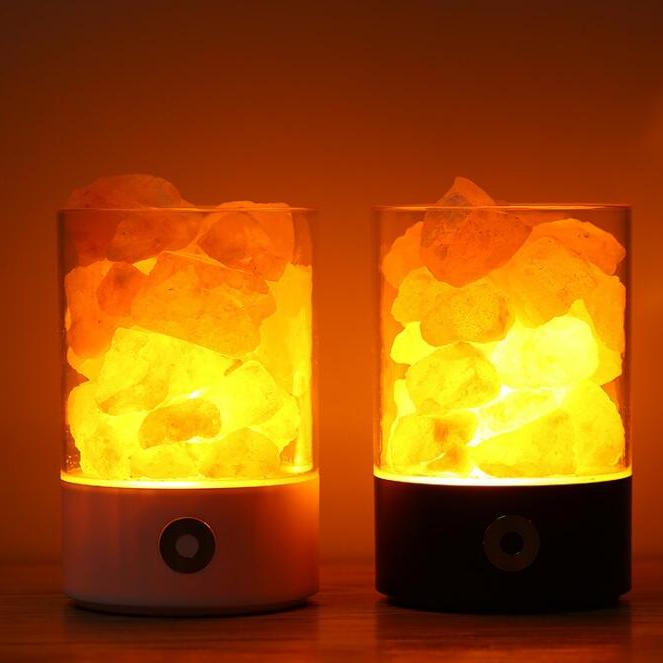 供应 水晶盐灯天然负离子健康养生盐灯usb充电七彩夜灯