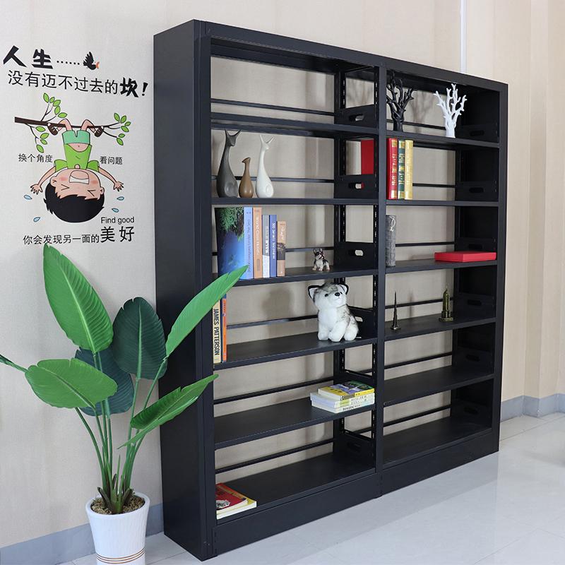 重庆钢制书架单面双面图书馆报刊架移动转印资料架木护板书架