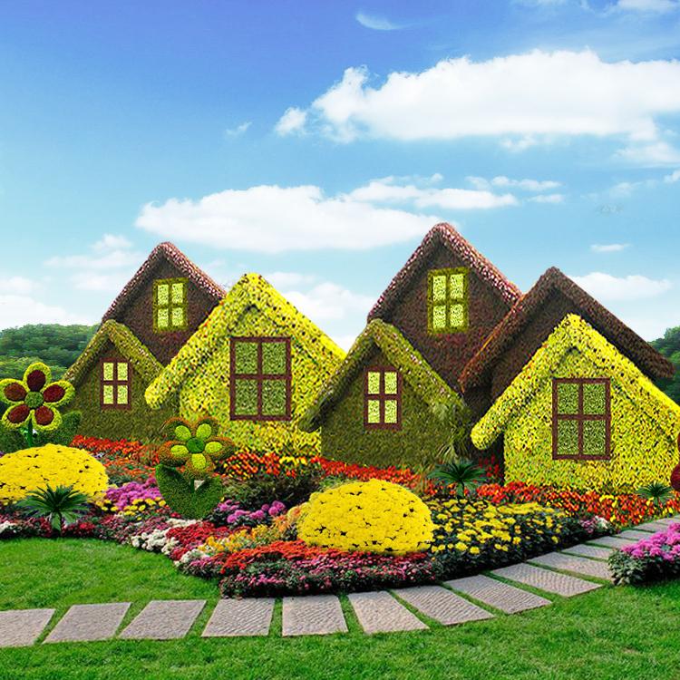 乘鸣园艺五色草立体花坛造型图片