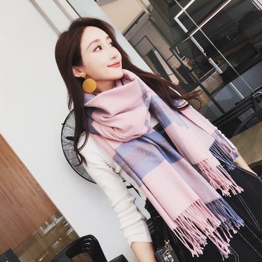 2018格子围巾女秋冬季长款情侣英伦风学生百搭加厚保暖披肩两用