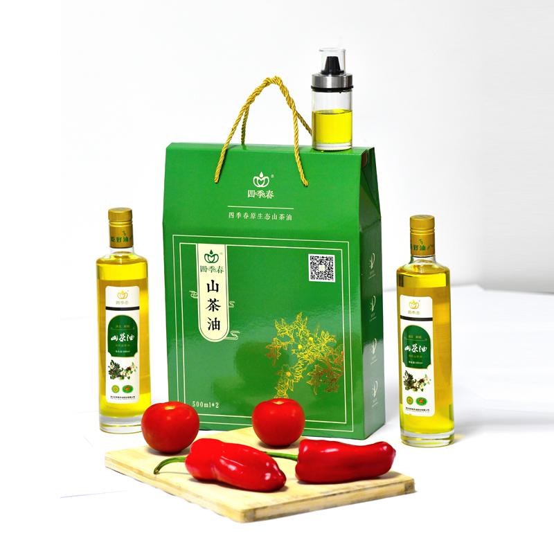 四季春野山茶油500ml2瓶礼盒装纯正茶油食用油物理压榨茶籽油生天然植物木子油