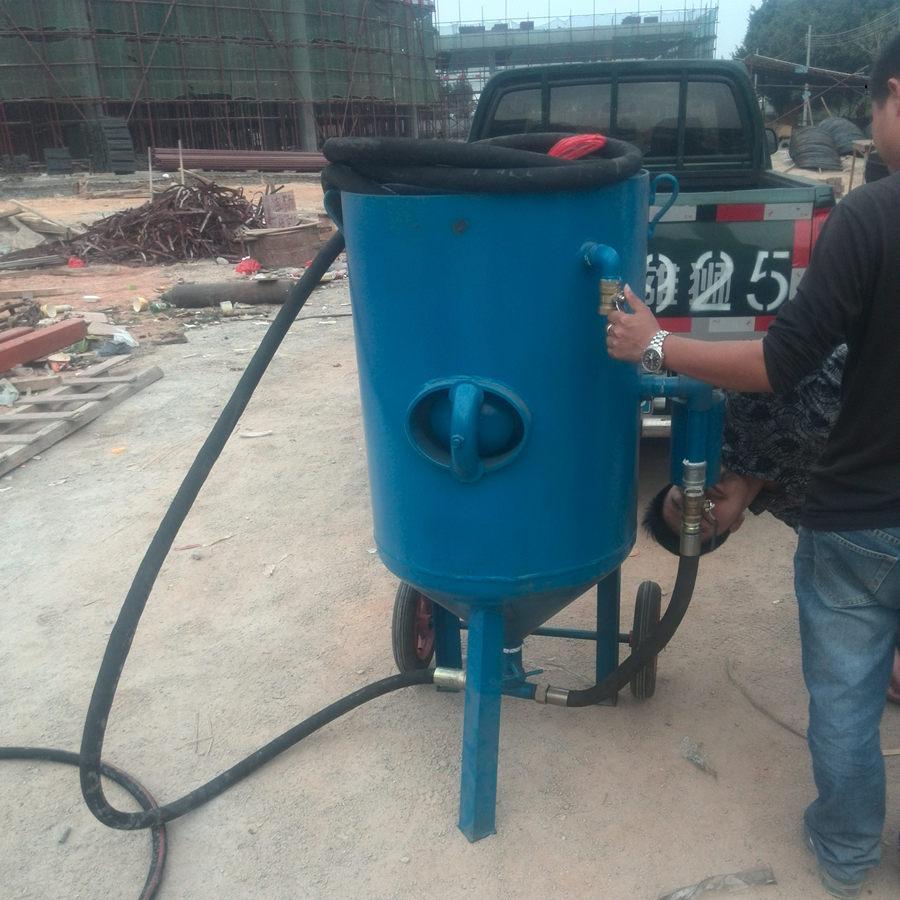 移动加压高压喷砂机 玻璃木头石材开放式移动喷砂机