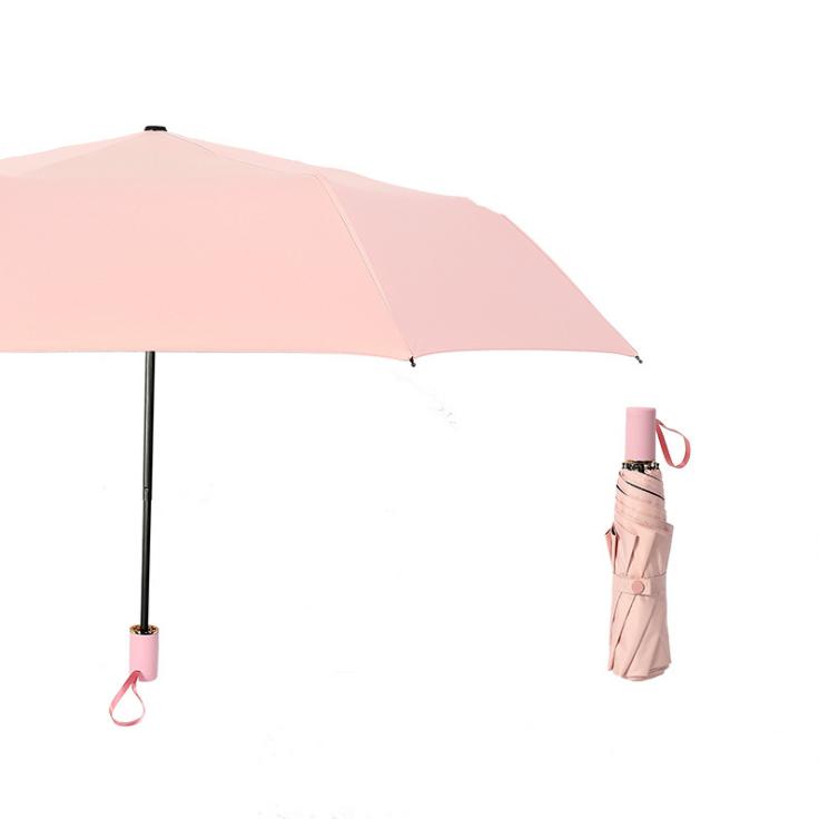 供应 纯色防晒防紫外线黑胶遮阳伞 小清新风格晴雨两用三折太阳伞