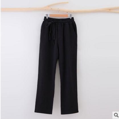 男式青年休闲裤中国风男装亚麻裤秋季宽松直筒裤男士长裤