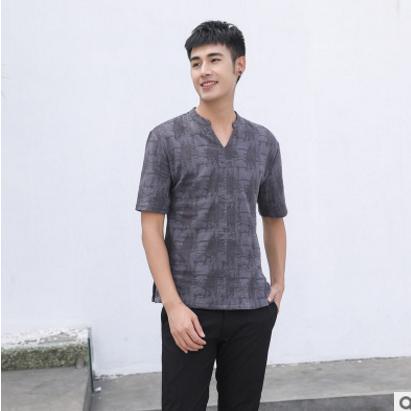 2018夏季中国风新品男士棉麻短袖T恤男式青年休闲V领短t