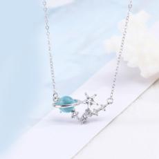 供应 原创设计纯银925琉璃blue蓝色极光星球项链星空小清新锁骨链