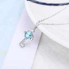 供应 热销爆款925银饰品女韩式气质琉璃吊坠钥匙项饰星球宇宙行星项链