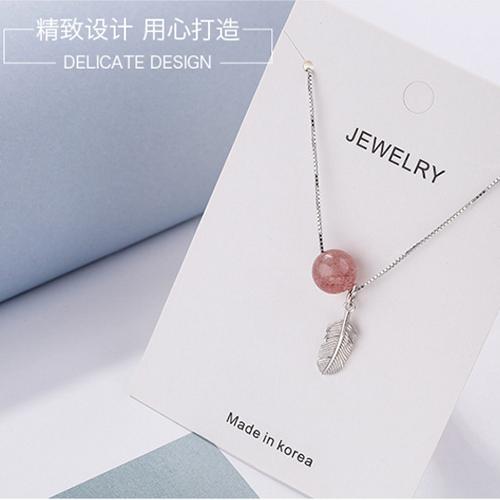 供应 S925纯银草莓晶羽毛项链韩版时尚甜美锁骨链