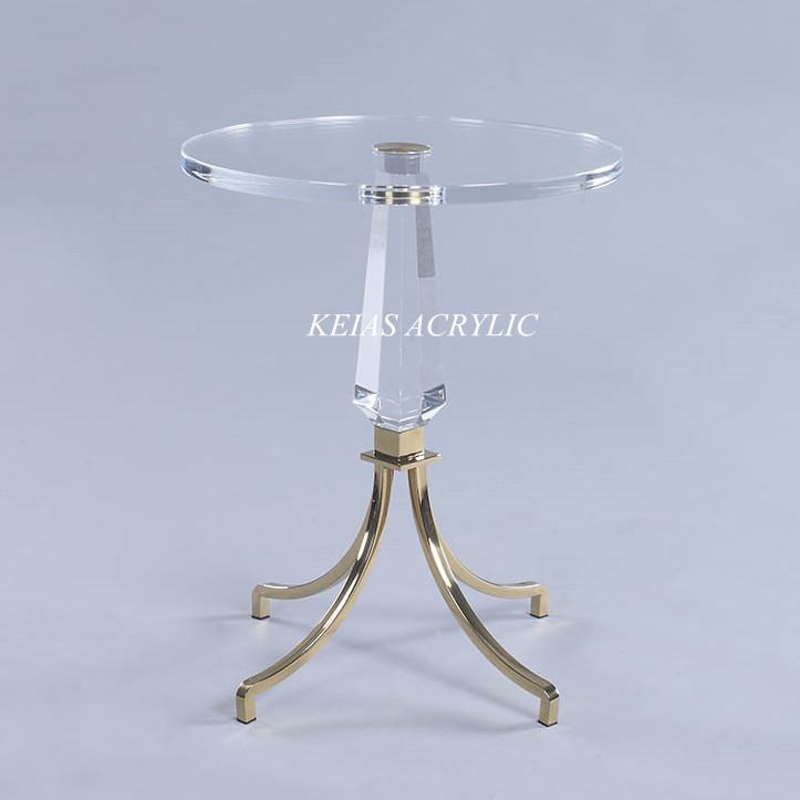 创意圆形有机玻璃水晶桌 透明亚克力PMMA桌子 脚不锈钢镀金 可加工定做