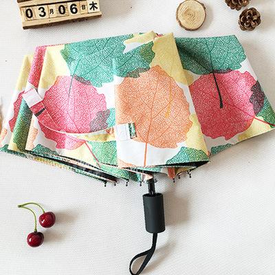供应 创意三折伞小清新黑胶遮阳伞女折叠加固晴雨伞防晒防紫外线太阳伞